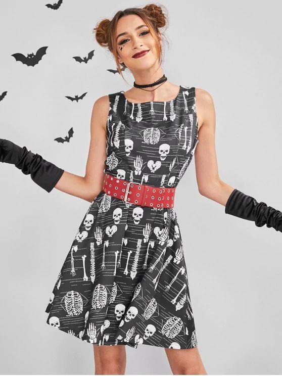 3a92c7879 ZAFUL Skull Mini Halloween Costume Skater Dress – Black #Halloween, #Party,  #