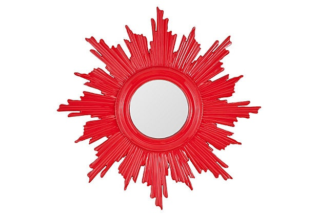Sunburst Mirror, Red Lacquer on OneKingsLane.com - use shims to create the starburst around the mirror and paint a high gloss color