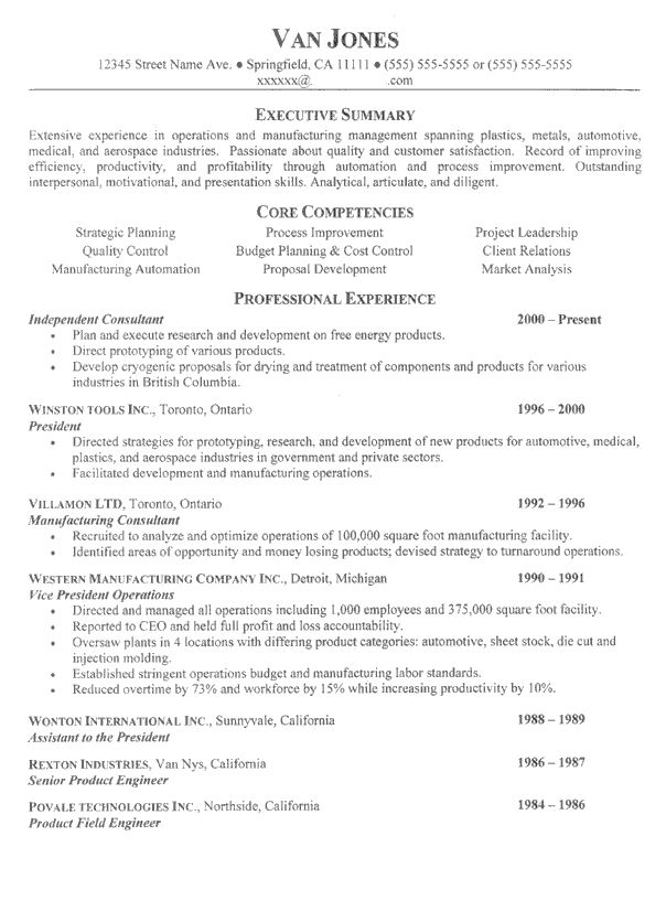 resume examples it project manager
