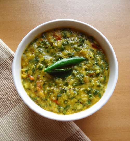 Radish Greens Dal - an easy radish greens and moong dal recipe. Radish leaves and split yellow lentils come together in this healthy and delicious dal recipe.