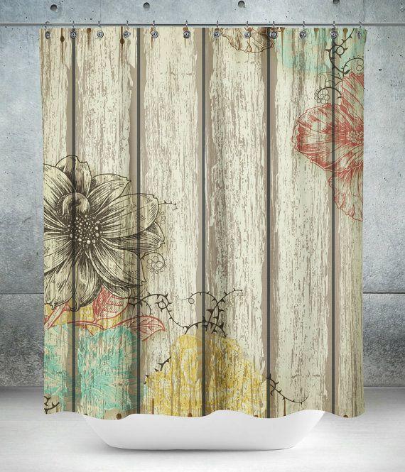 Rideau de douche Grange rustique bois Floral