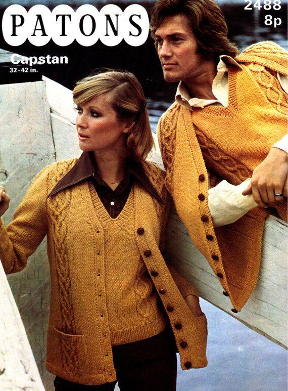 PDF Vintage 1970s Boho Tank Top Twin Set Knitting Pattern