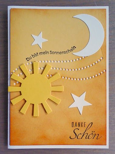 handmade thank you card from little or a lot ... German ... sponged ombré background ... die cut sun, moon and stars ... like it!