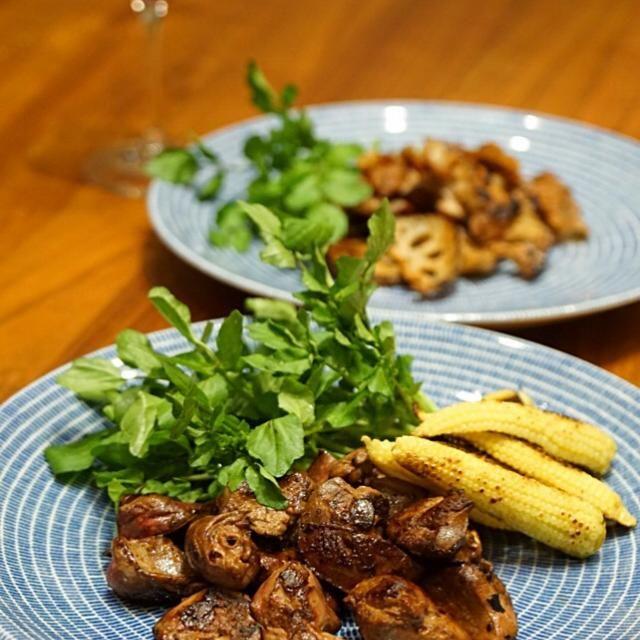 うま〜い。 - 18件のもぐもぐ - 焼き物2品 鶏レバーとヤングコーンのグリル &蓮根グリル by juno