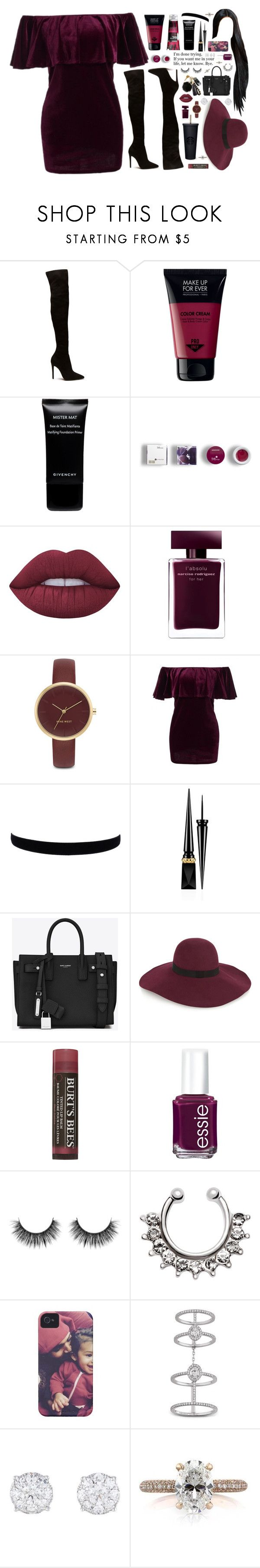 """""""done trying."""" by dyciana ❤ liked on Polyvore featuring Korres, Givenchy, Lime Crime, Narciso Rodriguez, Nine West, Christian Louboutin, Yves Saint Laurent, Maison Michel, Burt's Bees and Essie"""