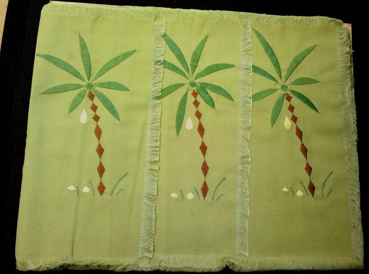 Set of Four Placemats with Embroidered Palm Trees by KnitsanStitches on Etsy