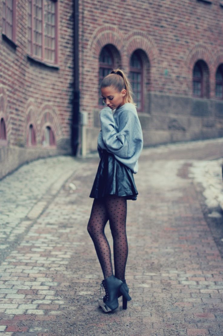 Leather skirt and oversized sweater