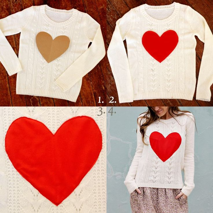 1. Make a heart pattern with paper and place it on the sweater to make sure you love the size and shape. 2. Once you've created the perfect pattern, use it to cut a heart out of your fabric. We used polyester fabric because it has some stretch and won't fray. 3. Simply pin it in place and sew it on using the zigzag stitch. 4. Wear your new sweater proudly.