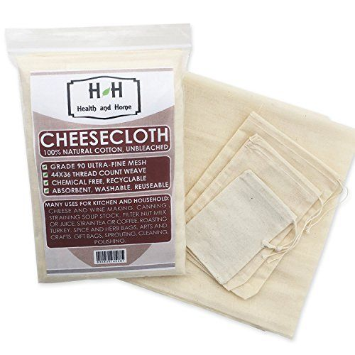 Cheesecloth - Ultra-Fine Grade 90 Unbleached 100% Natural Cotton - Cooking, Nut milk Filter, Cheese Making, Broth Strainer, Muslin Bag, Reusable, Quality Cloth from Health