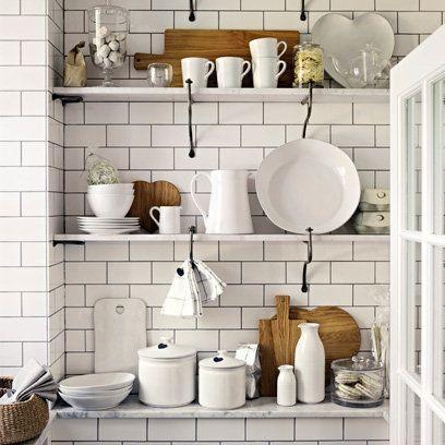 Kitchen storage ideas, all white decor