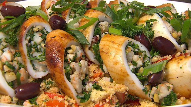 MKR4 Recipe - Prawn Stuffed Squid with Couscous Salad (Kerrie & Craig)