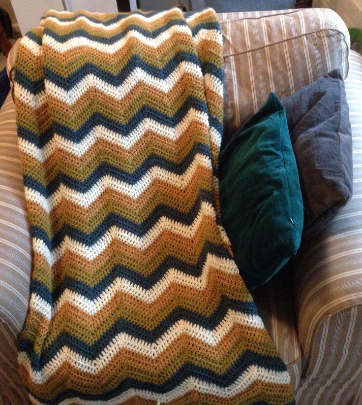 """My new """"Ruska"""" zigzag-blanket. Yarn: Novita 7 veljestä."""