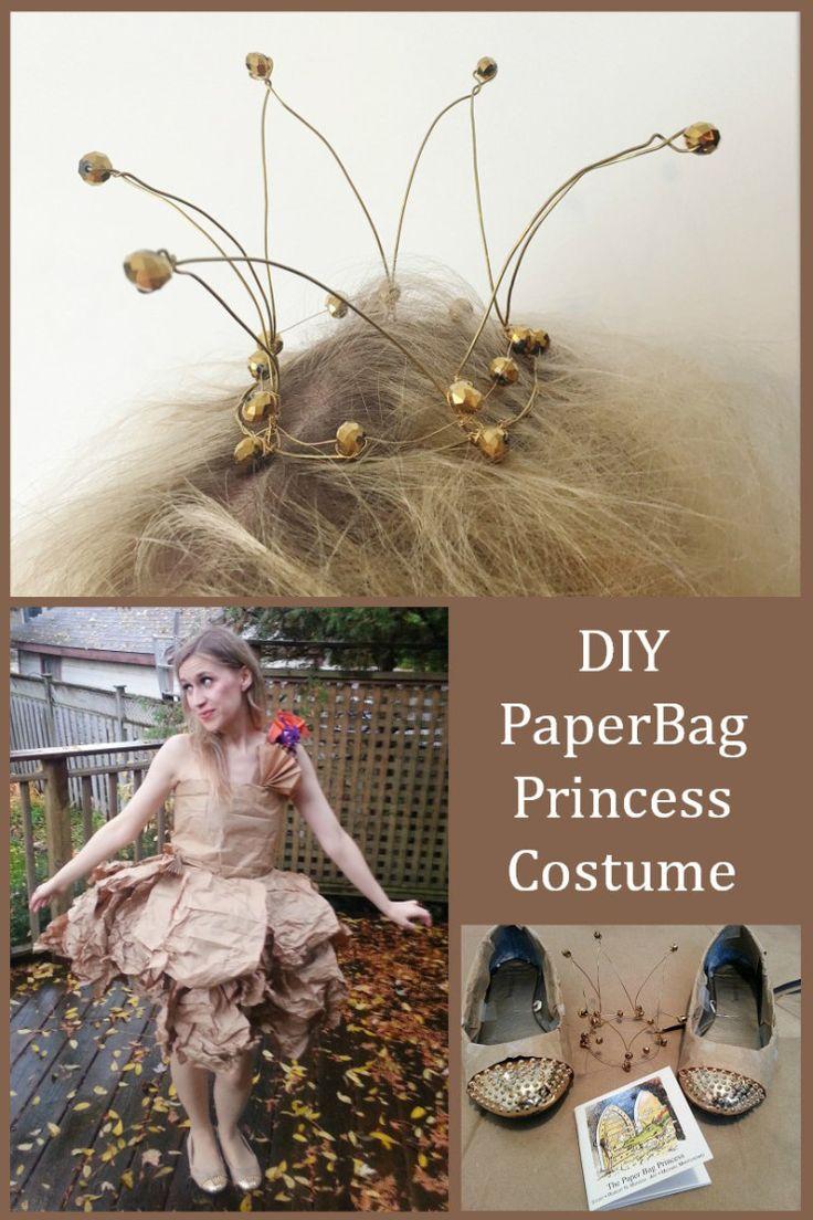 DIY PaperBag Princess Costume Tutorial - haute couture paperbag dress inspired by the Robert Munsch children's book - a great feminist fairy tale.  #DIYHalloween #paperbagprincess