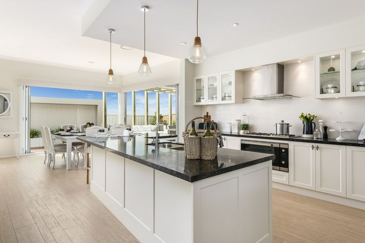 Love the #Hamptons styling in our Milano Four 15m on display in Shell Cove, don't you? See details at http://mcdonaldjoneshomes.com.au/display-home-locations/shell-cove #newhome #home #design #interiordesign #style #interiorstyle #benchtop #kitchen #pendantlights #pendant #lights #lighting #islandbench #styling #floorboards #flooring #timber #wood #splashback #tiledsplashback #cabinetry #glasscabinets #bench #architecture #dropceiling