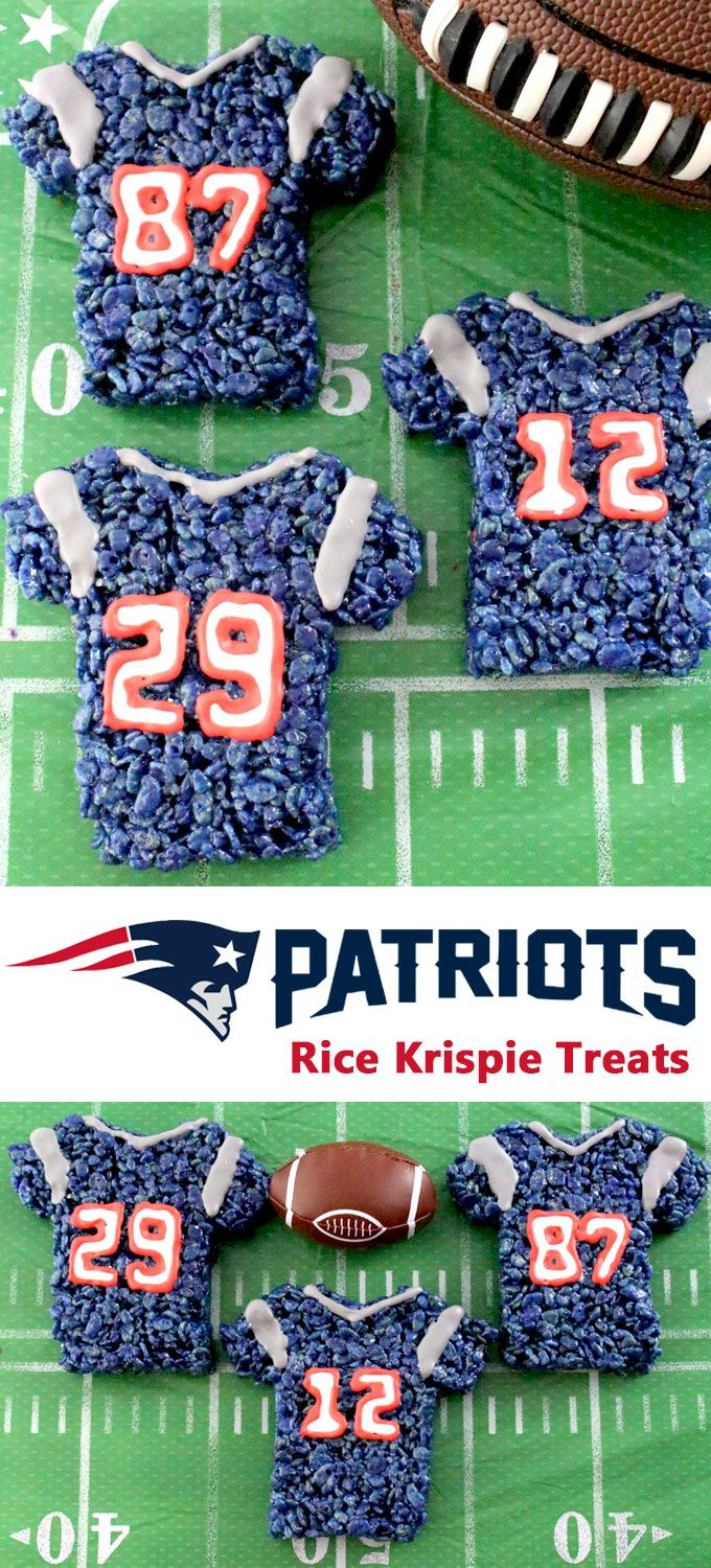 These New England Patriots Rice Krispie Treats Team Jerseys are a fun football dessert for a game day football party, an NFL playoff party, a Super Bowl party or as a special snack for the New England Patriots fans in your life. Go Patriots! And follow us for more fun Super Bowl Food Ideas.