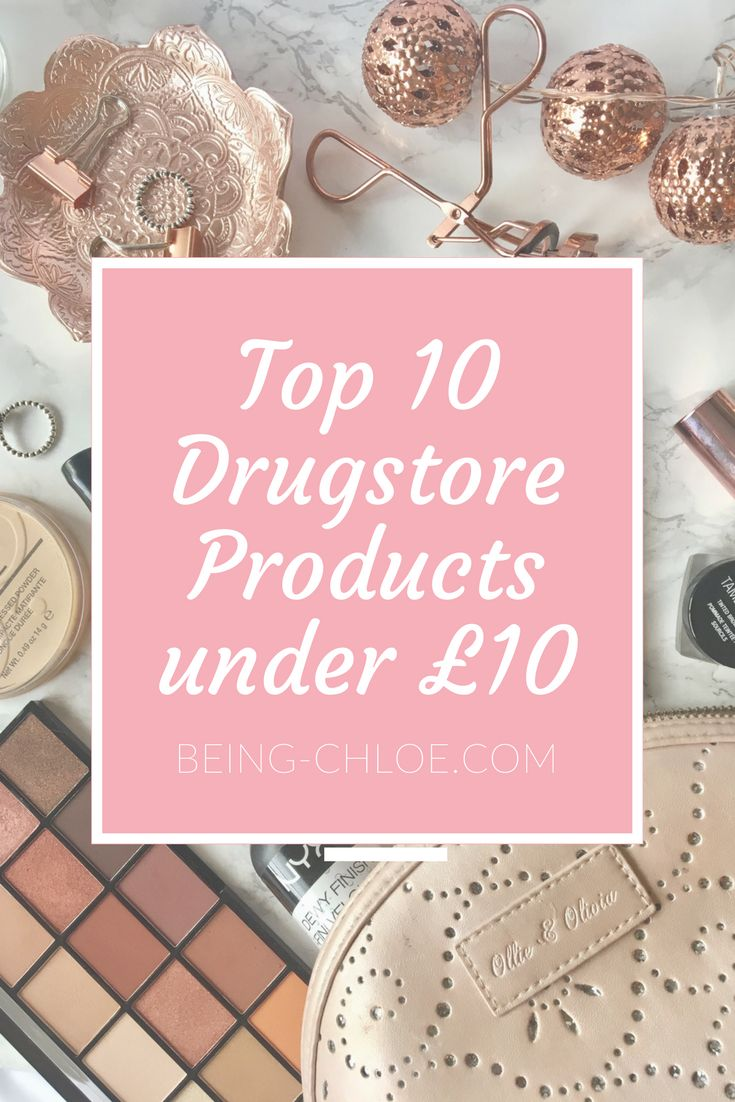 Top 10 drugstore makeup bargains that are all under £10 in the UK on being-chloe.com. Featuring makeup revolution palettes and concealers, nyx brow products to setting sprays, rimmels lipsticks and powders and many more.