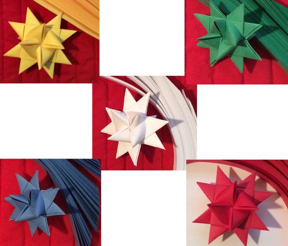 Paper Strips to make 3D Stars (Moravian Froebel Quilling Weaving) Red BlueMed White GreenMed Goldenrod