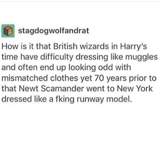 my theory is muggle fashion in the 20s was pretty standard/easy to follow whereas muggle fashion in the 90s was so batshit wizards just couldn't get their heads round it
