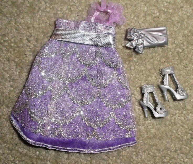 BARBIE DOLL CLOTHES - PURPLE & SILVER DRESS, SHOES, PURSE | Dolls & Bears, Dolls, Barbie Contemporary (1973-Now) | eBay!