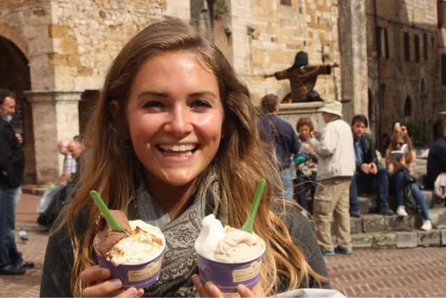 Gelato from the famous Gelateria di Piazza in San Gimignano, Tuscany, Italy