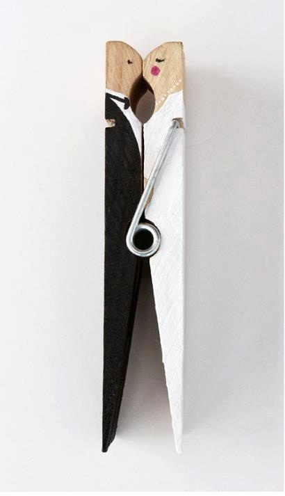 two  -bride and groom clothes pin