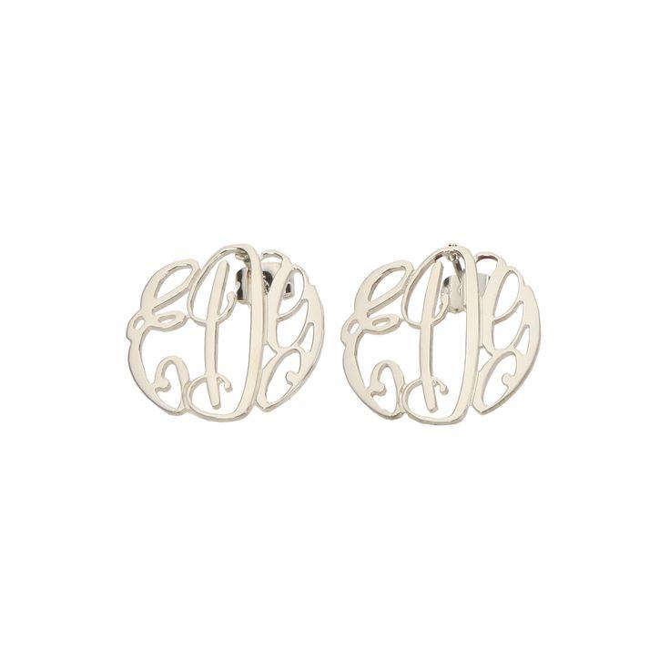 Monogram Filigree Stud Earrings Sterling Silver Elizabeth