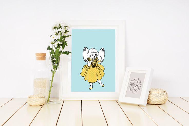 Fairy Girl, Baby Girl Gift, Vintage Children, Vintage Illustration, Nursery Art, Printable, Yellow, Blue and White Nursery, Handmade Item. by FREDandMIMI on Etsy https://www.etsy.com/au/listing/512067235/fairy-girl-baby-girl-gift-vintage