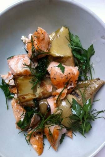 Flaked salmon, artichokes and dill / Nigel Slater.  Salmon, preserved artichokes, dill, lemon, olive oil  Warm flaked cooked salmon in a little olive oil in...
