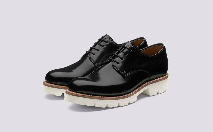 Evie | Womens Derby in Black Gloss Leather with a White Commando Sole | Grenson Shoes - Three Quarter View