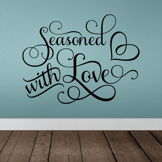 Personalized Word Art Vinyl Wall Decal Sticker Seasoned With Love Flourish Food Cooking Kitchen Dinner Family
