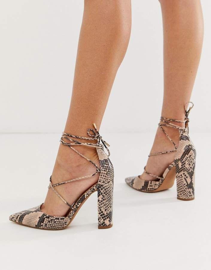 29586f80134 Asos Design ASOS DESIGN Power Trip high block heels in snake ...