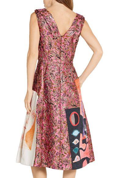 Prada - Silk Faille-paneled Metallic Jacquard Midi Dress - SALE20 at Checkout for an extra 20% off