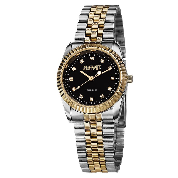 This elegant August Steiner women's quartz watch features a sunray dial accented with twelve genuine diamond hour markers. The beautiful stainless steel bracelet adds a fine touch that completes this timepiece.