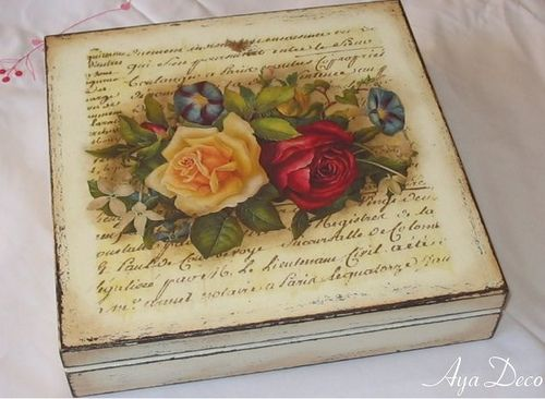 Decoupage Box - Victorian Roses by Aya deco Decoupage,