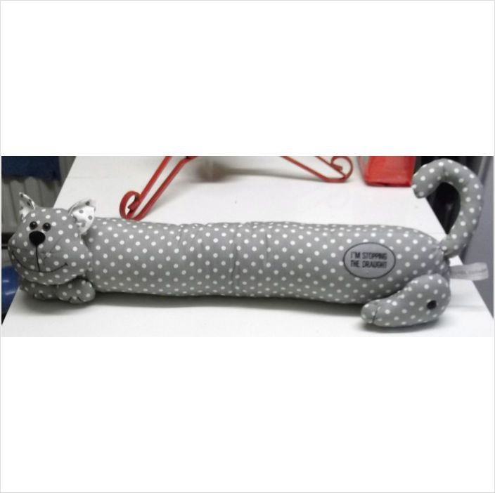 "£13.80 delivered for a  28"" Dotty Grey & White draught excluder"
