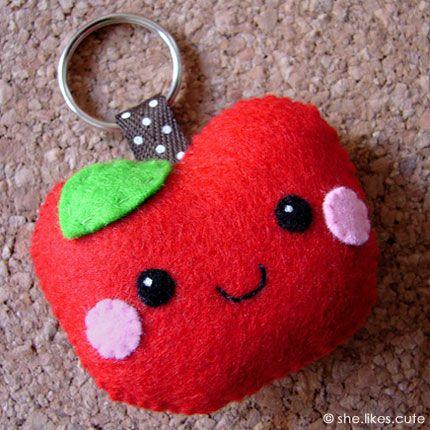Apple felt keychain