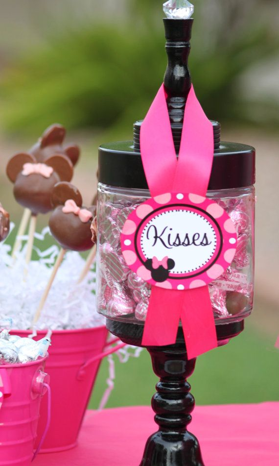 MINNIE Mouse Inspired party printables - Candy Jar Labels Girl Black and Pink Birthday Collection - INSTANT Download - Krown Kreations on Etsy, $2.50
