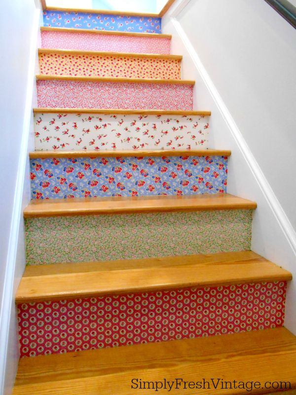 Stairway Makeover - After | 8 Steps to a colorful stairway from SimplyFreshVintage.com