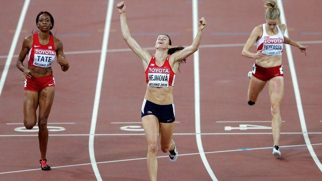 Zuzana Hejnova takes gold in the 400m. hurdles at 2015 World Athletics Championships in Beijing