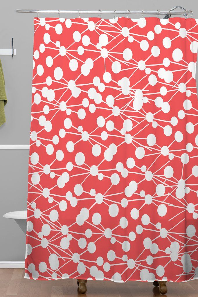 Rachael Taylor Rad Dots Coral Shower Curtain