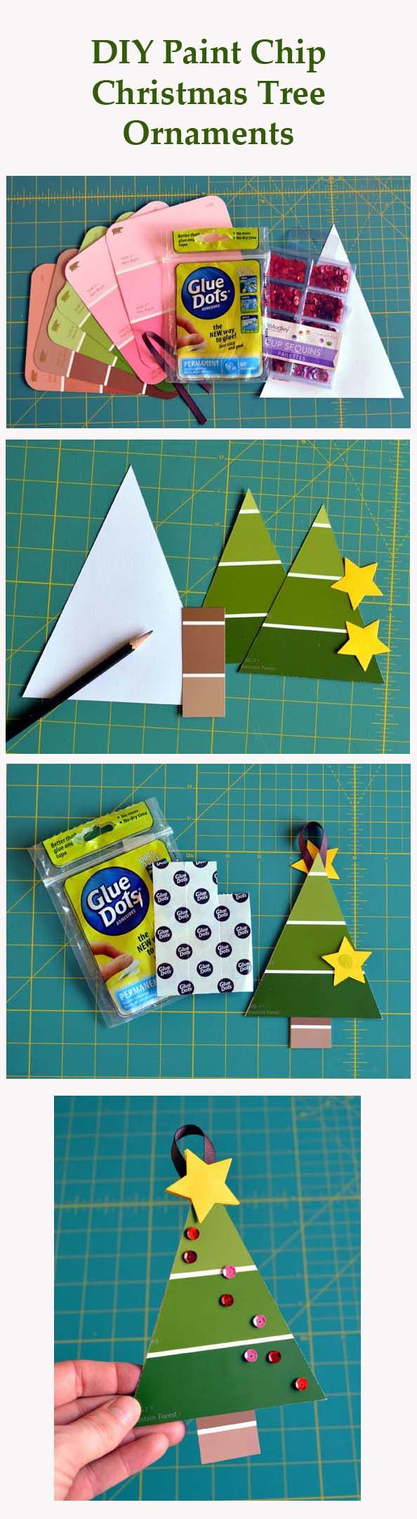 Designer Dawn has a cute and quick Christmas Tree project using paint chips - A perfect kids craft for Christmas! This is a simple and inexpensive ornament to make with young kids for the holidays.