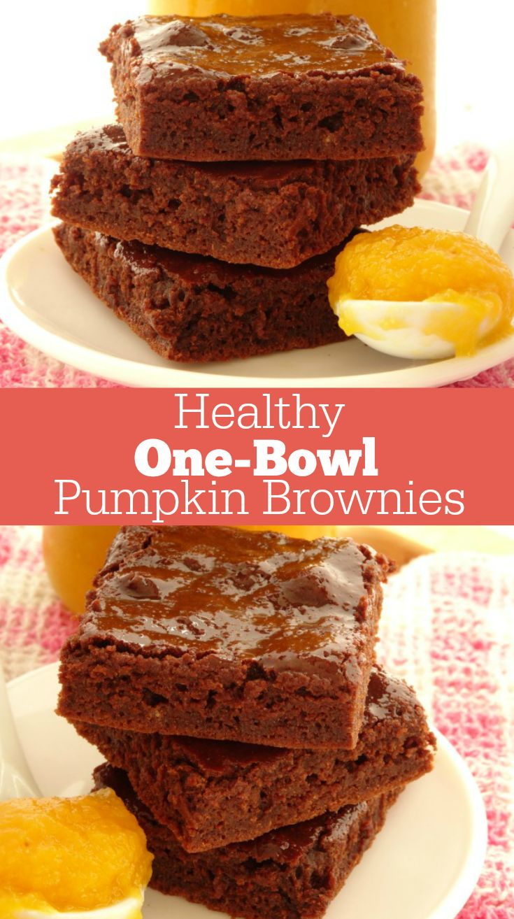 One-Bowl Healthy Pumpkin Brownies Recipe. A quick and easy brownie recipe you can make in 30 minutes with just one bowl! These brownies are so rich and fudgy, you'd never know they're just 85 calories each. I still can't believe it!