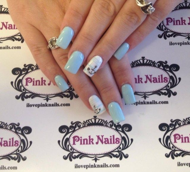 Baby Blue Anchor Nails