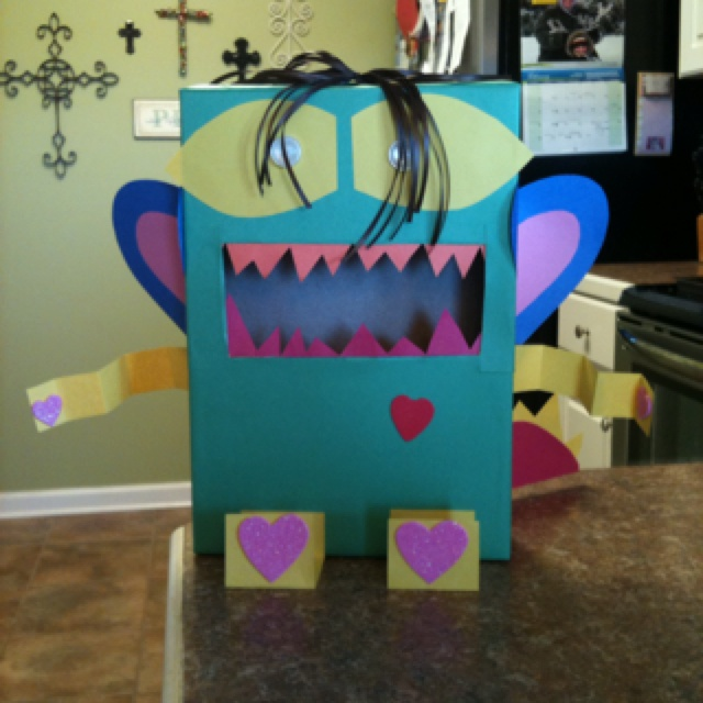 The monster valentine box we just made it 39 s made out of for What to make out of cereal boxes