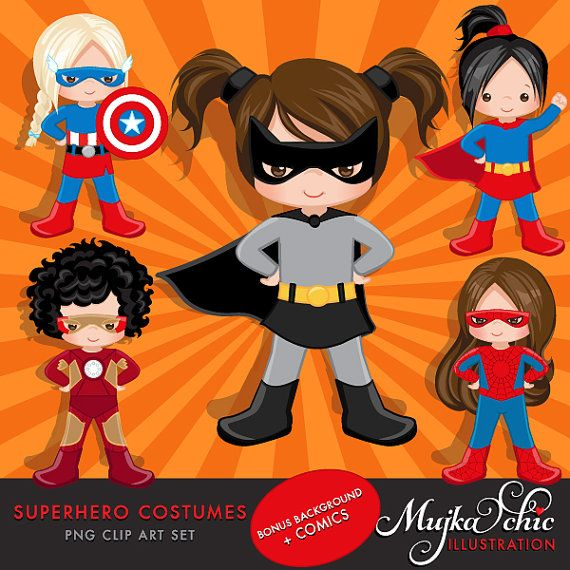 Superhero Costumes and backgrounds Bundle Girls Clipart by MUJKA