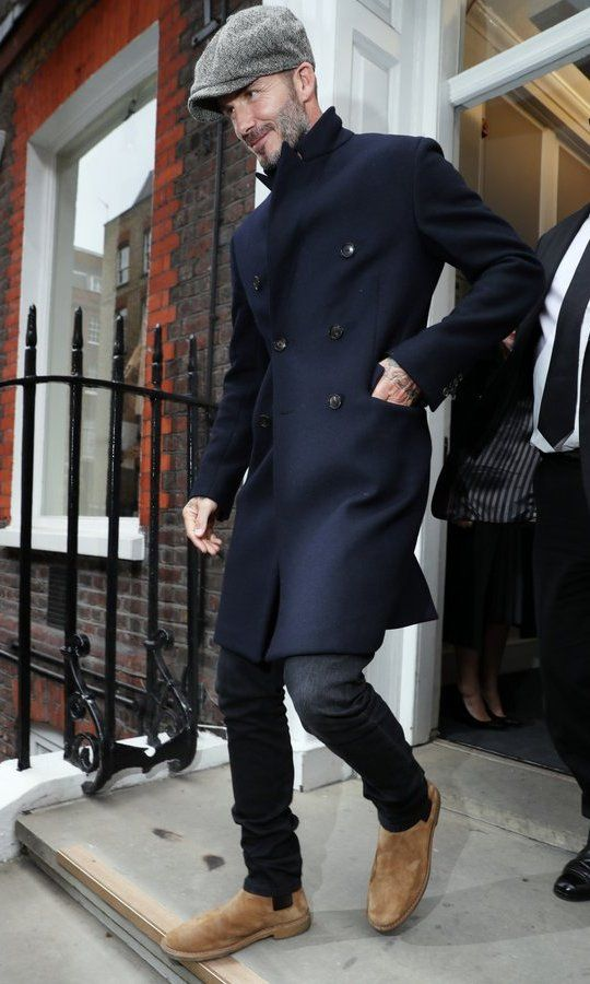 David Beckham looked dapper in his flat cap as he left the Kent & Curwen presentation.