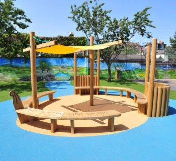 The Longboat.... Complete with pole planters and shade canopy this striking Viking structure is great for imaginative play as well as an outdoor classroom