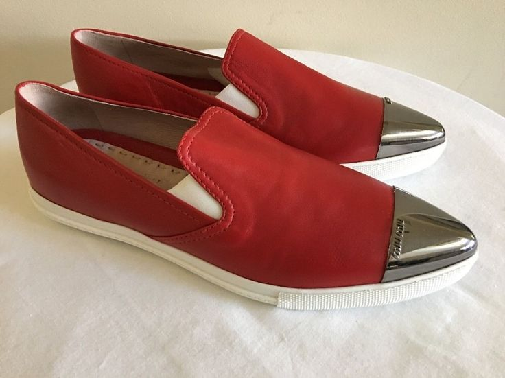 New MIU MIU Red Leather Women's Cap-Toe Loafer Skate Shoes 39.5/9.5