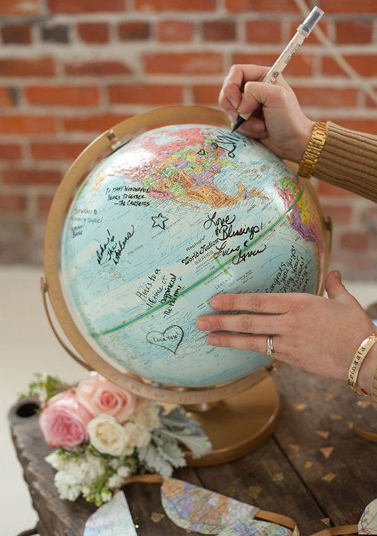 Fans of world travel? This guest signed globe will help you plan your trips to come and make your heart flutter each time you see it Images by Kelly Benton photography via Ruffled