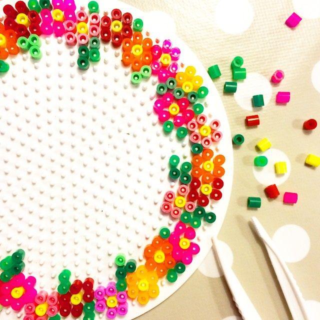 Flower wreath hama beads